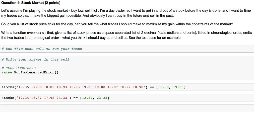 Solved Question 4 Stock Market 2 Points Lets Assume I