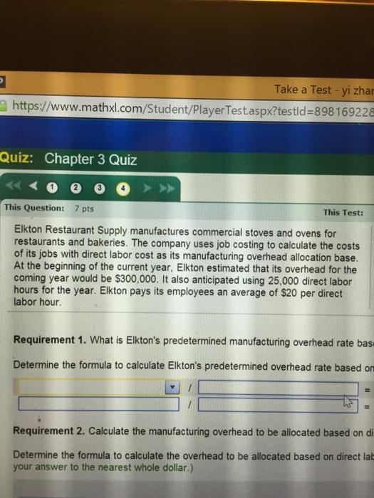 Solved: Take A Test -yi Zhar Https://www mathxl com/Studen