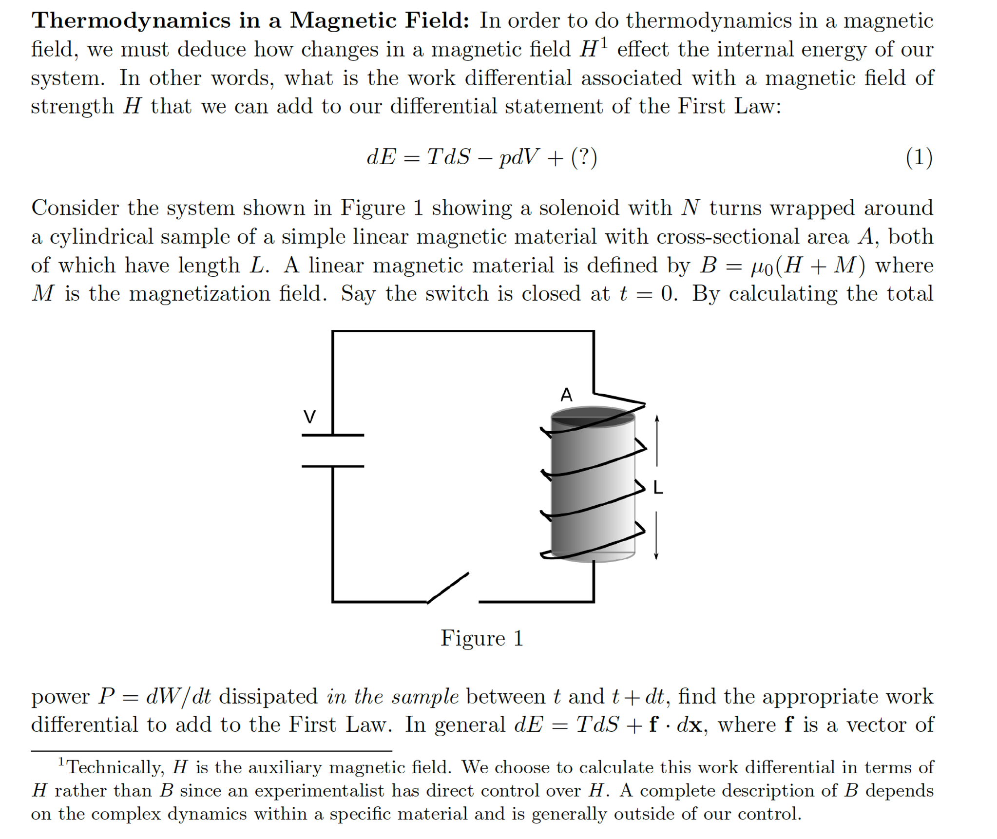 thermodynamics in a magnetic field in order to do chegg com