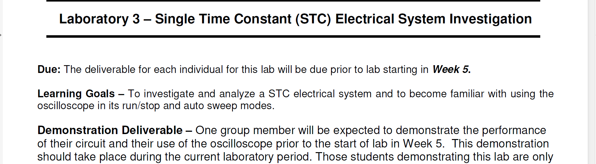 Solved: Laboratory 3 - Single Time Constant (STC) Electric