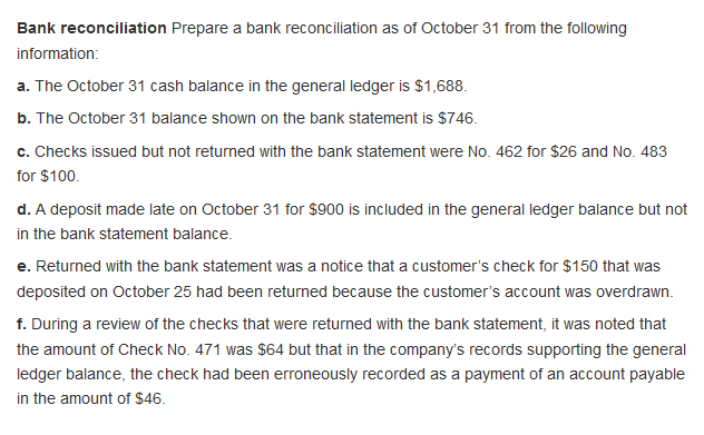 Accounting archive march 26 2018 chegg bank reconciliation prepare a bank reconciliation as of october 31 from the following a the fandeluxe Choice Image