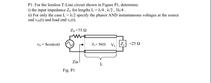 Solved: For The Lossless T-Line Circuit Shown In Figure PI