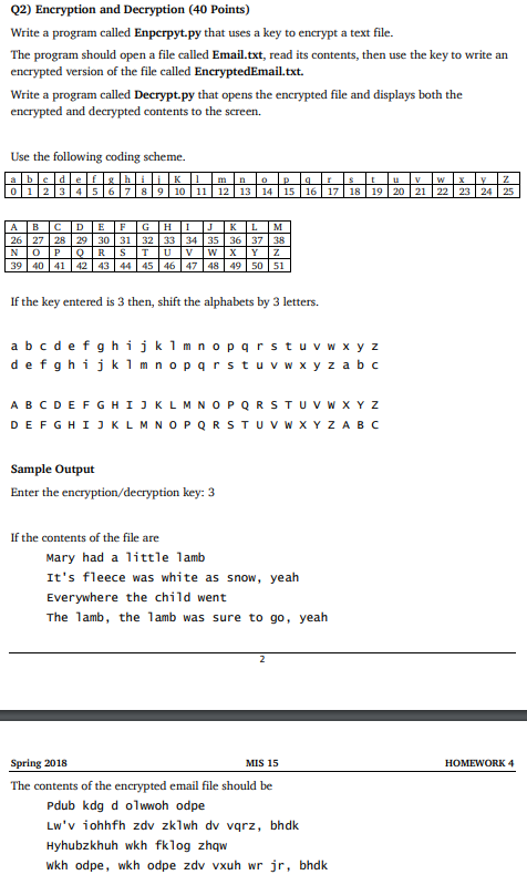 Solved: Q2) Encryption And Decryption (40 Points) Write A