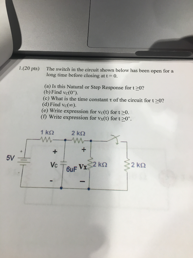 Solved: The Switch In The Circuit Shown Below Has Been Ope ...