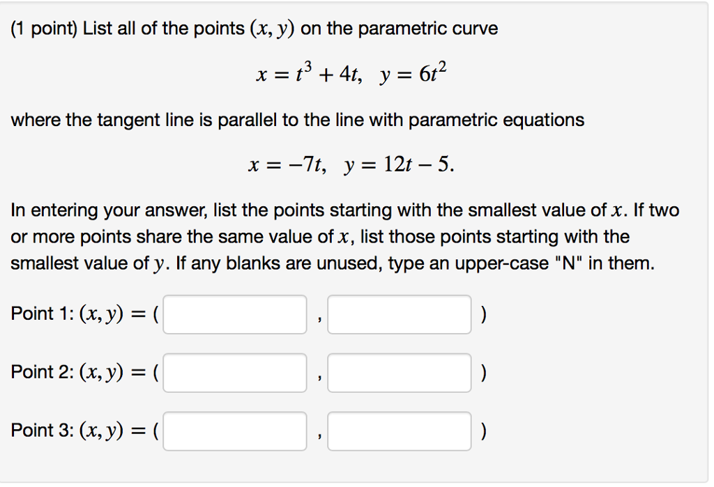 solved list all of the points x y x y on the para