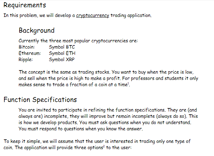 Requirements Hisroblem We Will Develop A Nc Trading Opplication Background Currently The Three Most Popular