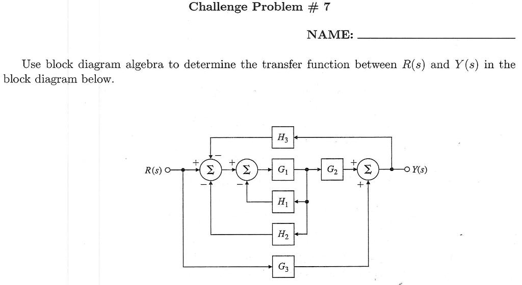 Challenge Problem 7 Name Use Block Diagram Alge Chegg
