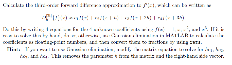 Calculate The Third-order Forward Difference Appro