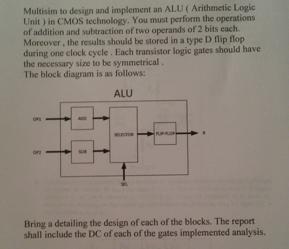 Multisim to design and implement an ALU (Arithmetic Logic Unit) in CMOS  technology.