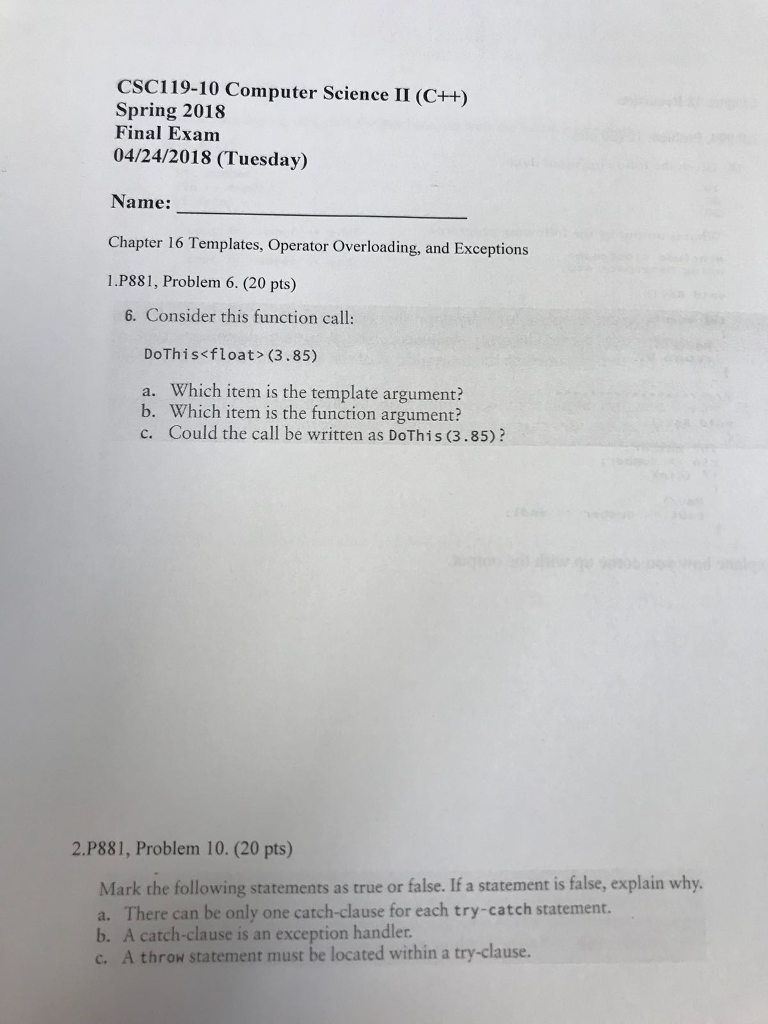 Solved: CSC119-10 Computer Science II (C++) Spring 2018 Fi ...
