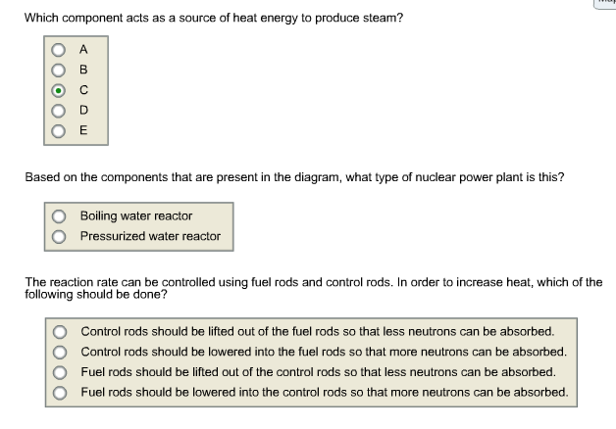 Solved Use The Diagram Of Nuclear Reactor To Answer T Power Plant See More Show Transcribed Image Text Three Questions Below Electric Steam Control Rods Turbine