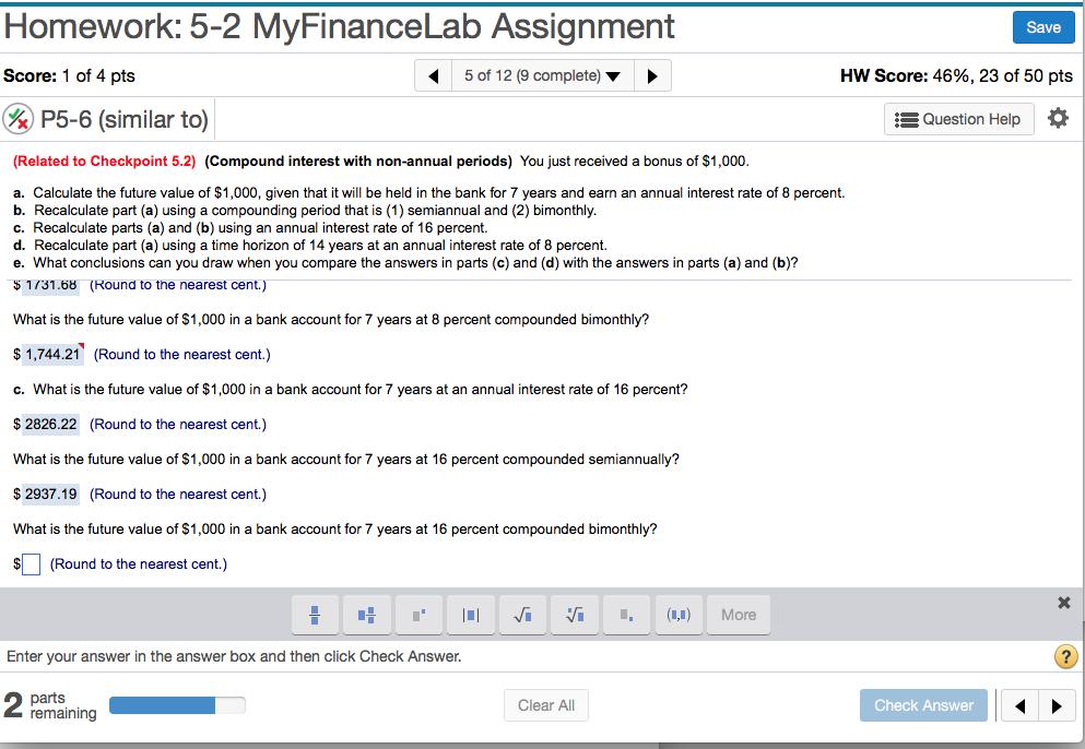 myfinancelab homework answers