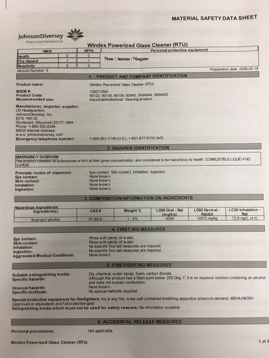 Solved: MATERIAL SAFETY DATA SHEET Johnson Diversey Windex