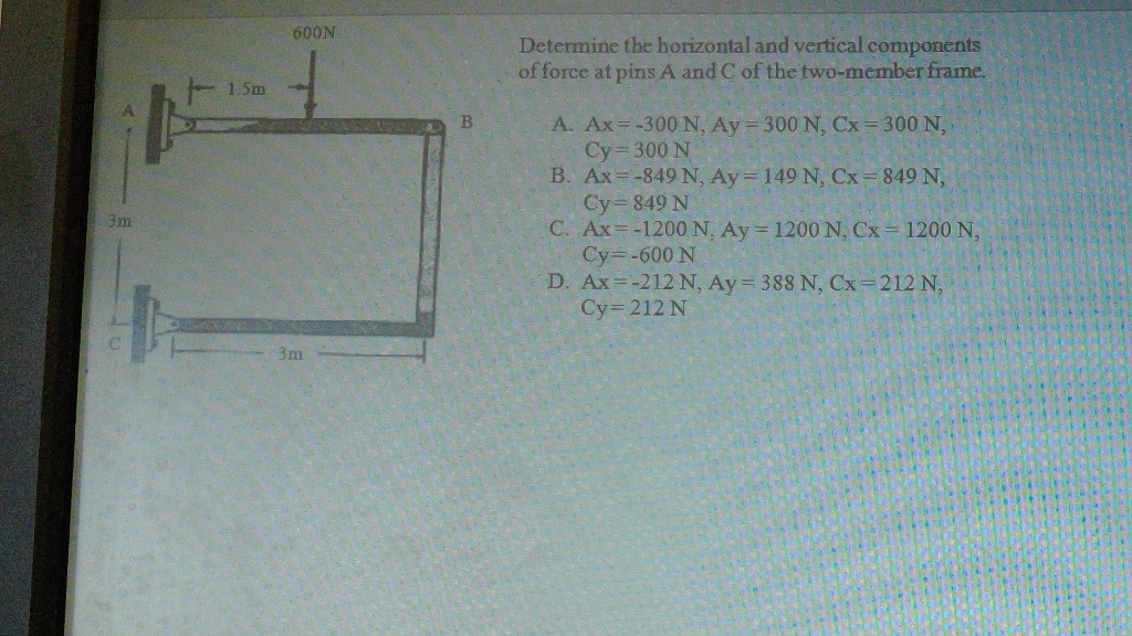 Solved Determine The Horizontal And Vertical Components O