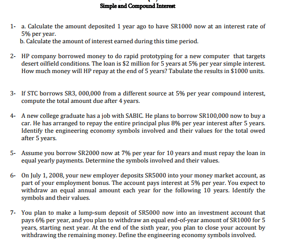 question simple and compound interest 1 a calculate the amount deposited 1 year ago to have sr1000 now a