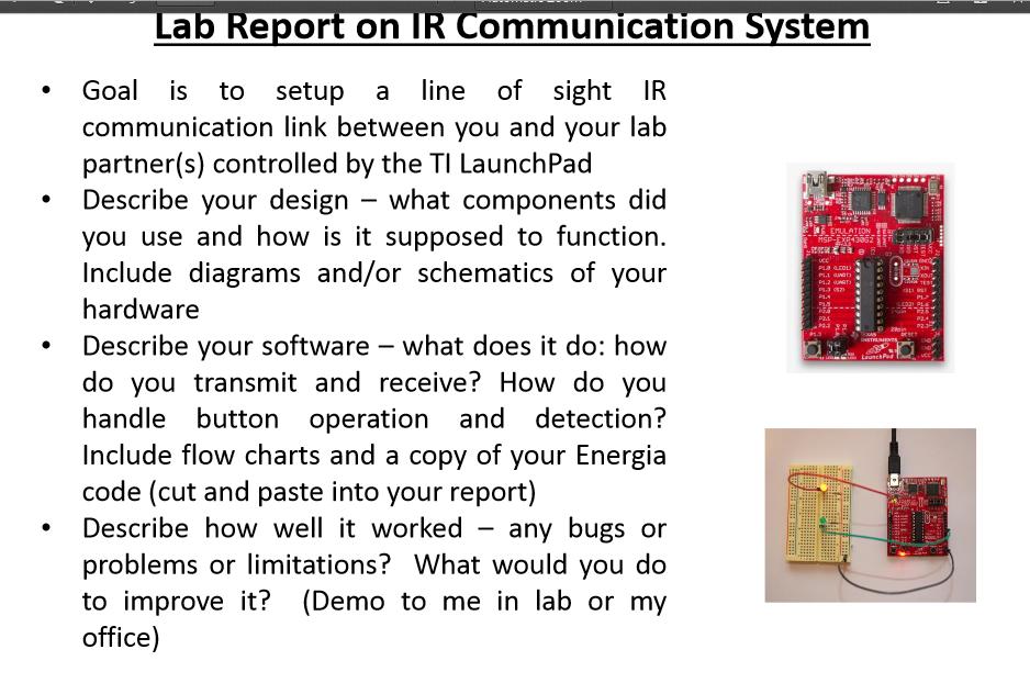 ir lab report