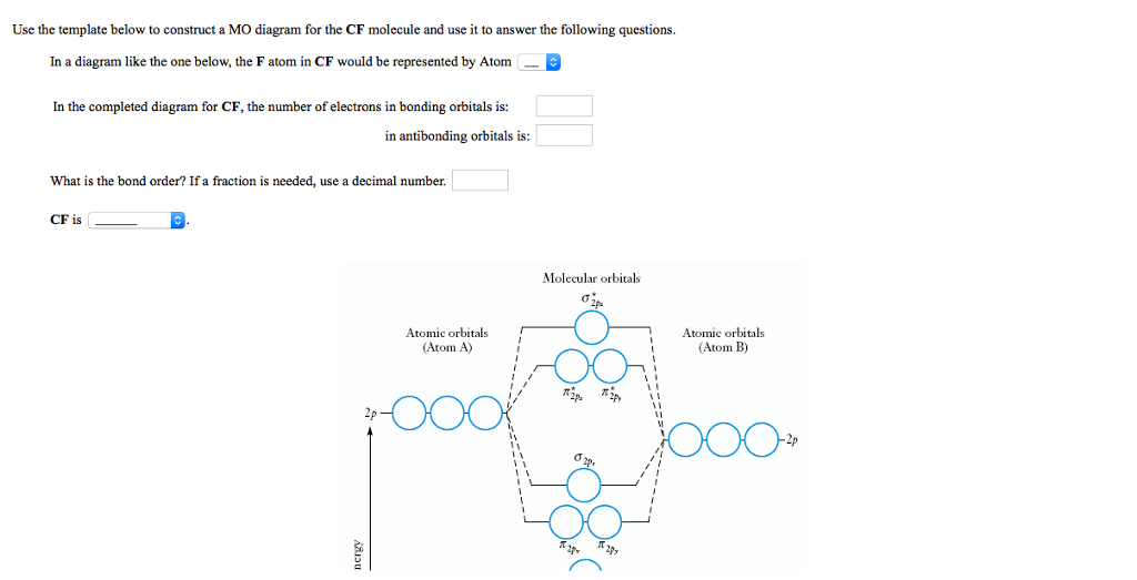 Solved use the template below to construct a mo diagram f question use the template below to construct a mo diagram for the cf molecule and use it to answer the fol ccuart Image collections