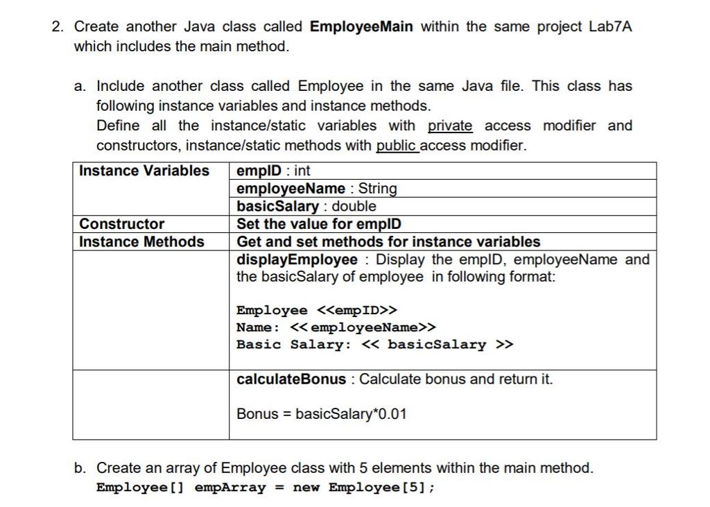 Solved: Create Another Java Class Called EmployeeMain With