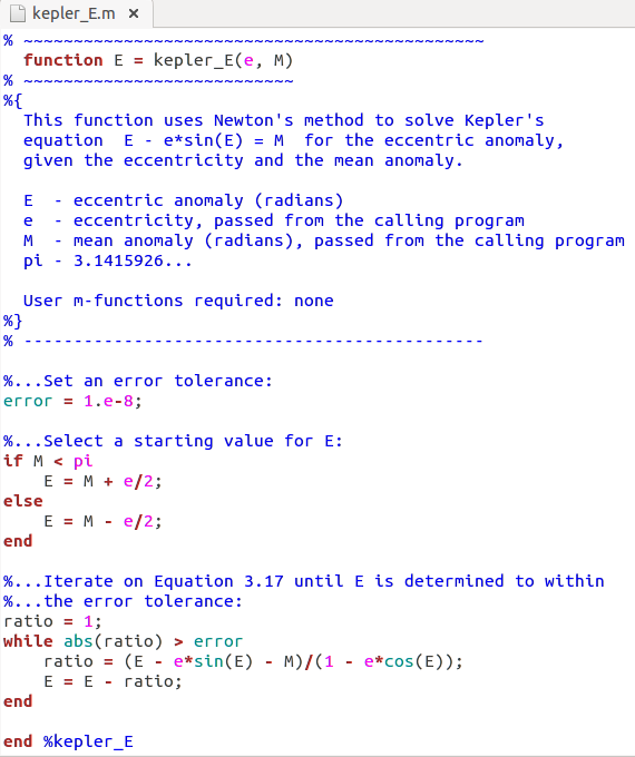 Write A Matlab Function To Compute The True Anomal