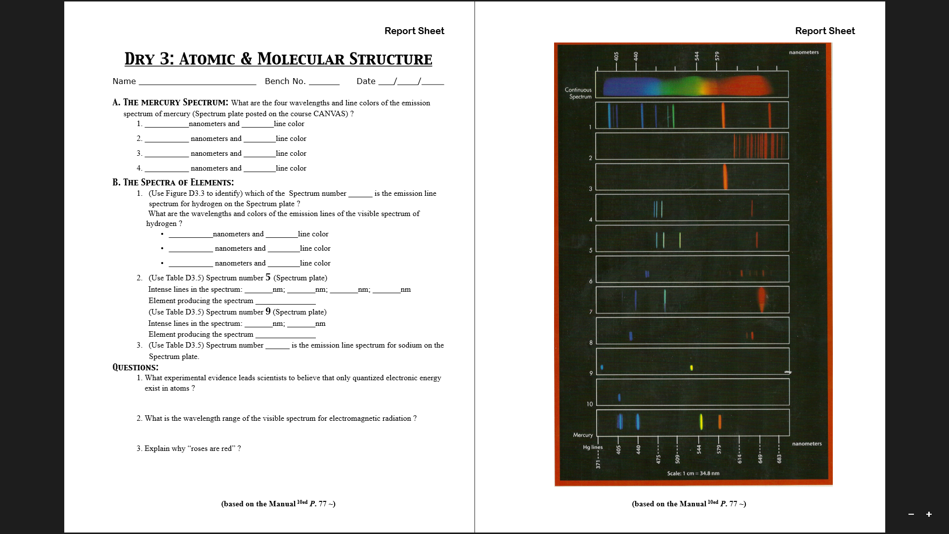 Image For A THE MERCURY SPECTRUM What Are The Four Wavelengths And Line Colors