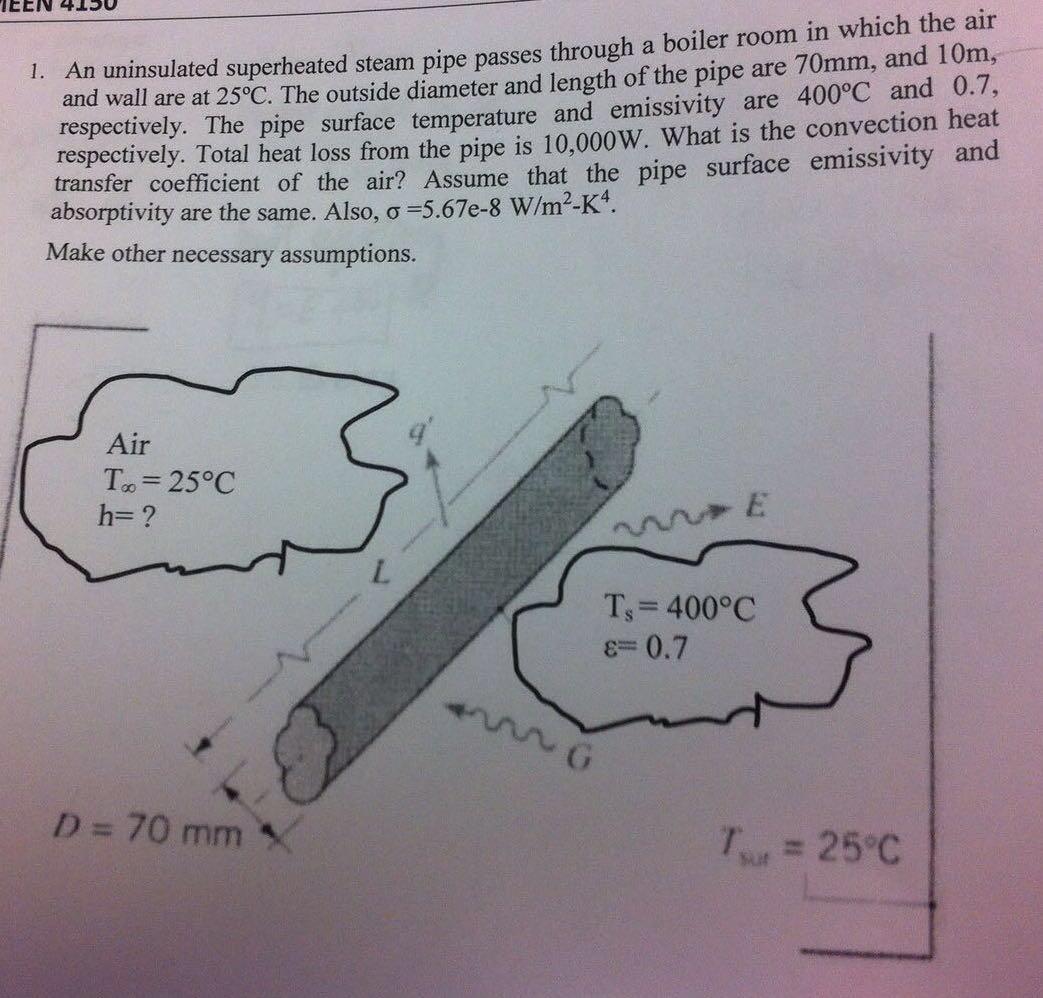 An Uninsulated Superheated Steam Pipe Passes Throu... | Chegg.com