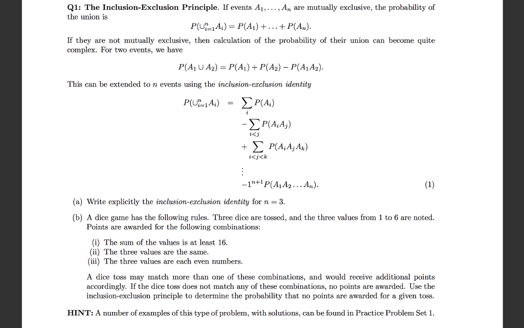 Solved Q1 The Inclusion Exclusion Principle If Events A