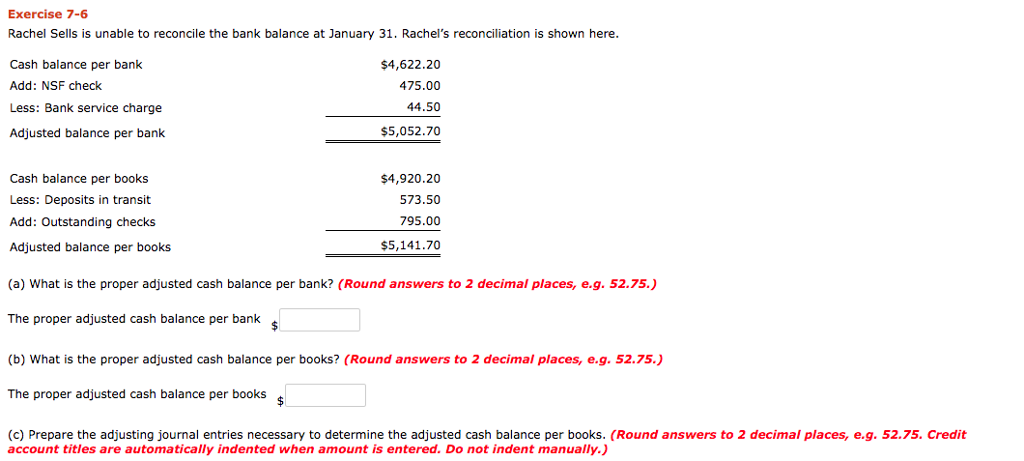 bank reconciliation exercise and answers pdf