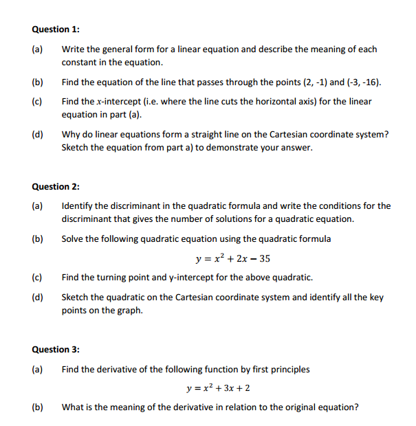 question 1 a write the general form for a near equation and describe