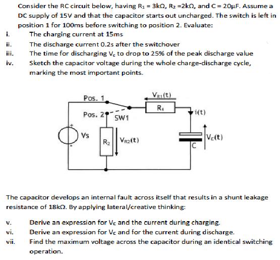 Consider the RC circuit below, having R_1 = 3k Ohm