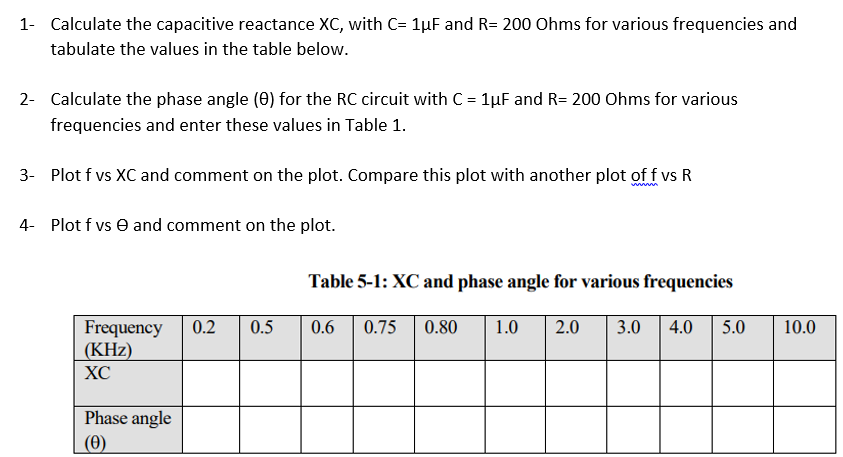 Solved: Calculate The Capacitive Reactance XC, With C-1?F