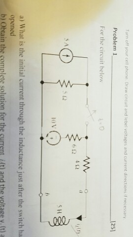 For the circuit below. What is the initial curren