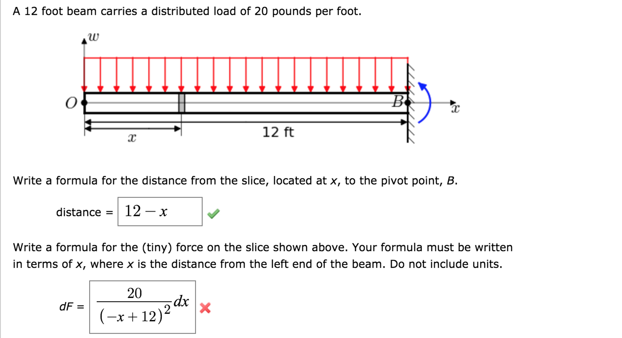 Solved: A 12 Foot Beam Carries A Distributed Load Of 20 Po