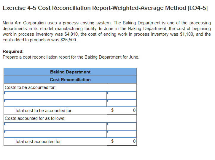 solved exercise 4 5 cost reconciliation report weighted a
