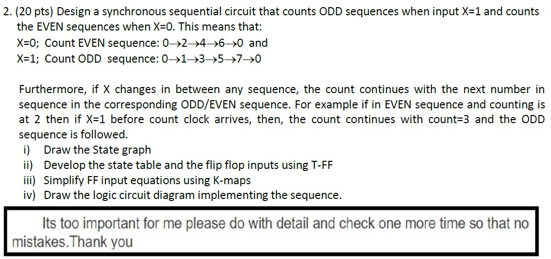 Design a synchronous sequential circuit that count