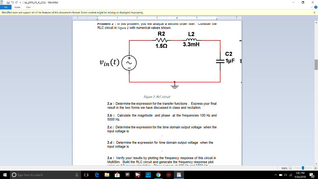 solved 2 a determine the expression for the transfer fu