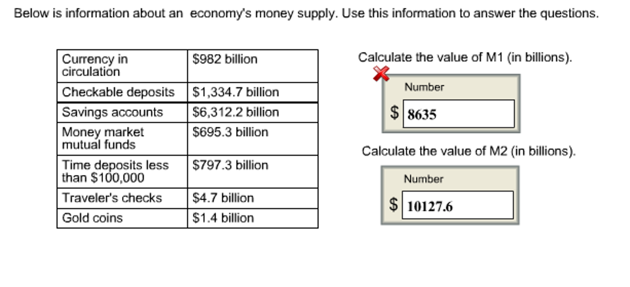 Below Isrmation About An Economy's Money Supply Use Thisrmation To Answer  The Questions Calculate The Value