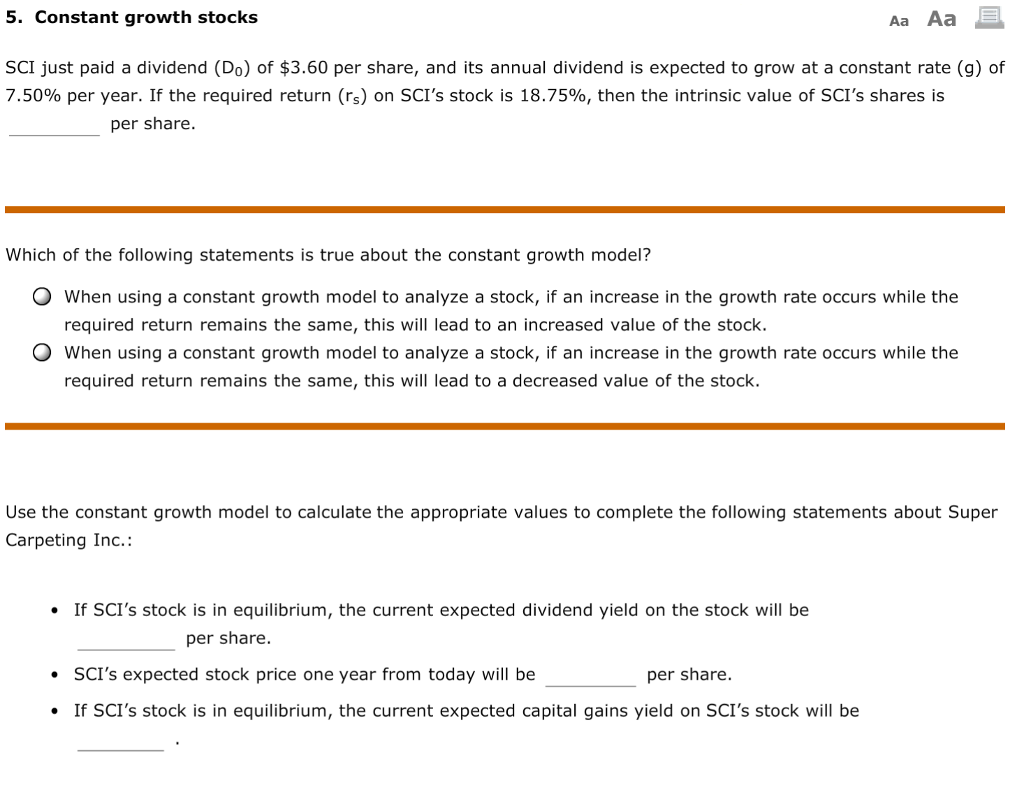 Solved: 5. Constant Growth Stocks SCI Just Paid A Dividend ...