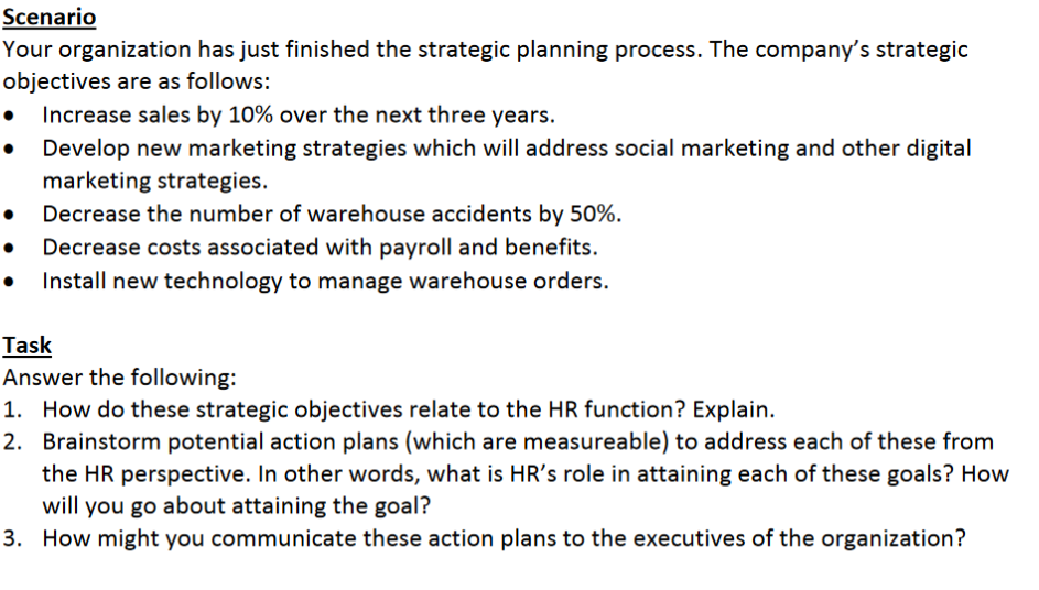 Solved: Your Organization Has Just Finished The Strategic