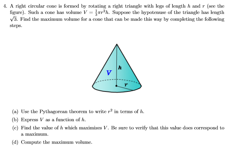 differentiation volume and right circular cone Related rates consists of applying implicit differentiation, with respect to time the volume of a right circular cone.
