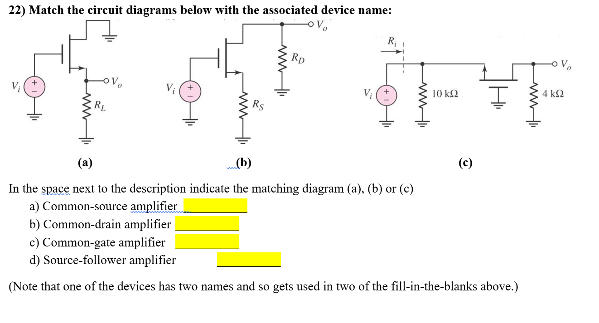 match the circuit diagrams below with the associat