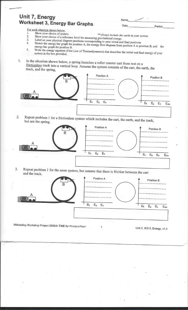 Solved Unit 7 Energy Worksheet 3 Energy Bar Graphs Show
