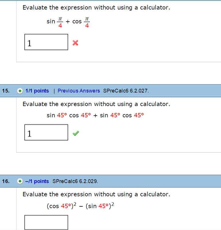 solved evaluate the expression without using a calculator