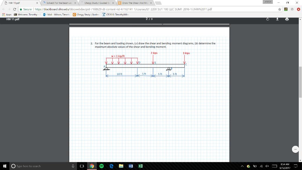 Solved: D HW 11 pdf X Solved: For The Beam An X X Chegg St