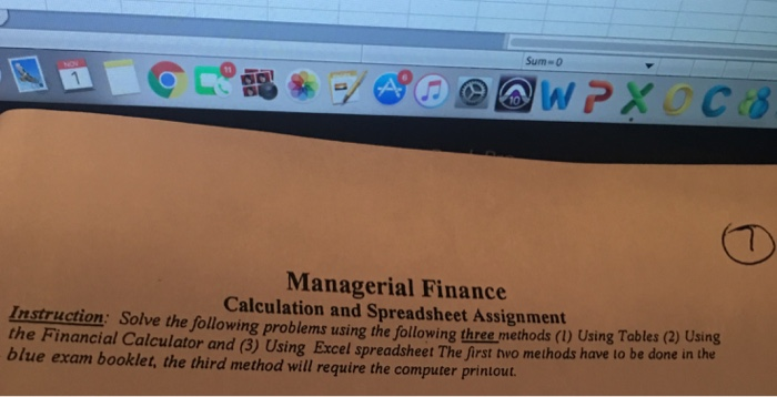 Solved Sum 0 Wc Managerial Finance Calculation And Spre