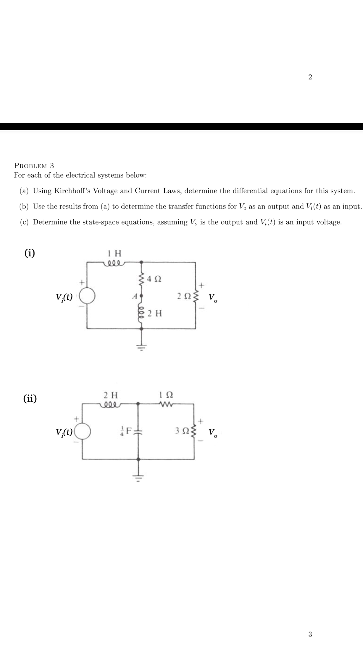 For each of the electrical systems below: Using K