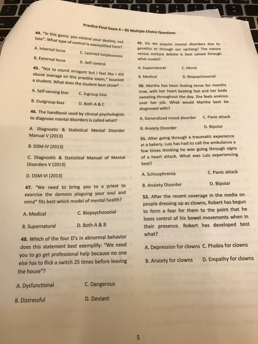 mental health multiple choice questions