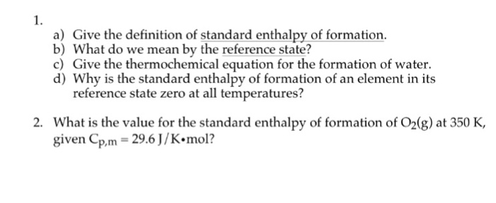 Give The Definition Of Standard Enthalpy Of Format