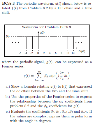 Solved: BC:8.3 The Periodic Waveform, G(t) Shown Below Is ...