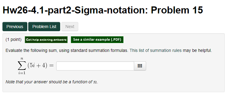 Solved: Hw26-4 1-part2-Sigma-notation: Problem 15 Previous