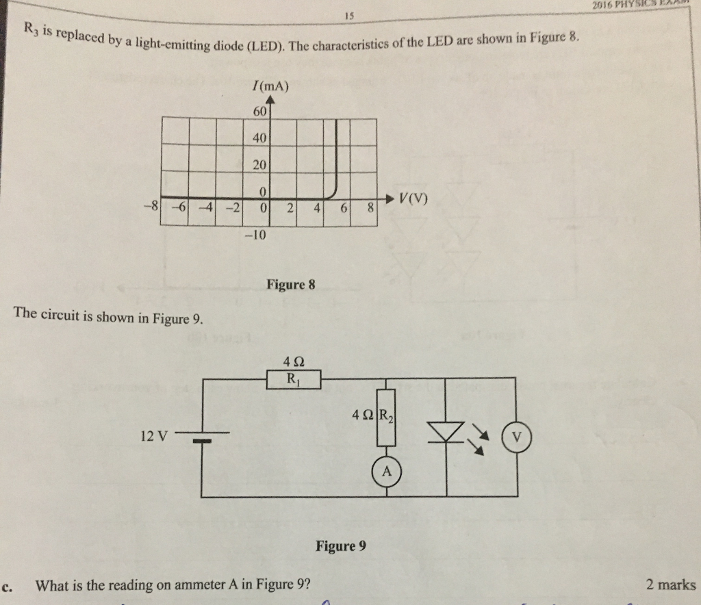 Solved In This Circuit What Does It Mean That The Light E Emitting Diode Electrical Circuits 2016 Physies D 15 Rj Is Replaced By A L Ght